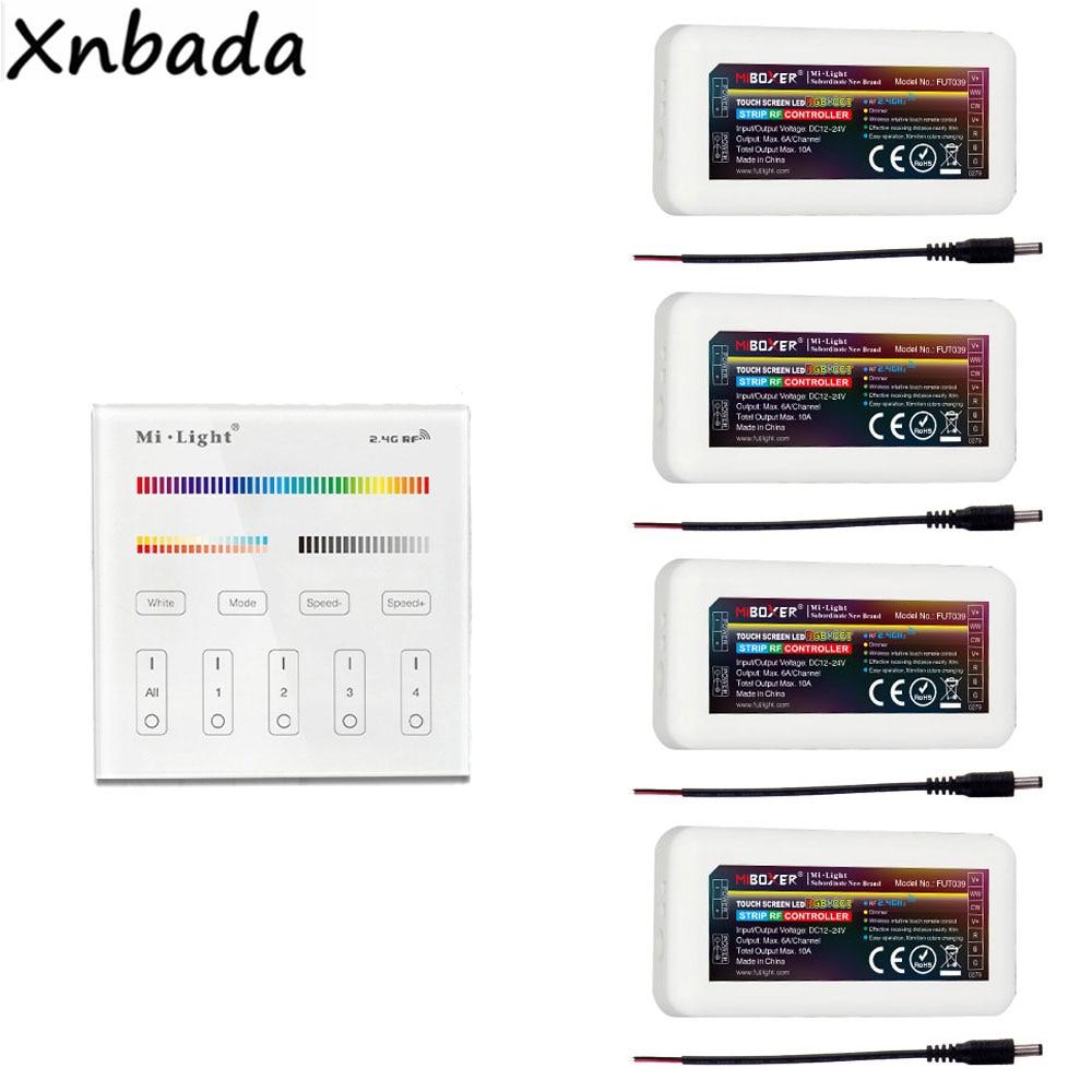Milight B4 RGB + CCT Panel remoto 2,4G FUT039 RGB/RGBW/RGBWW Controlador Led para tira de luces Led DC12-24V Panel táctil B8 montado en la pared; Atenuador RF remoto FUT089 de 8 zonas; Controlador led inteligente LS2 5 en 1 para RGB + CCT, tira led Miboxer