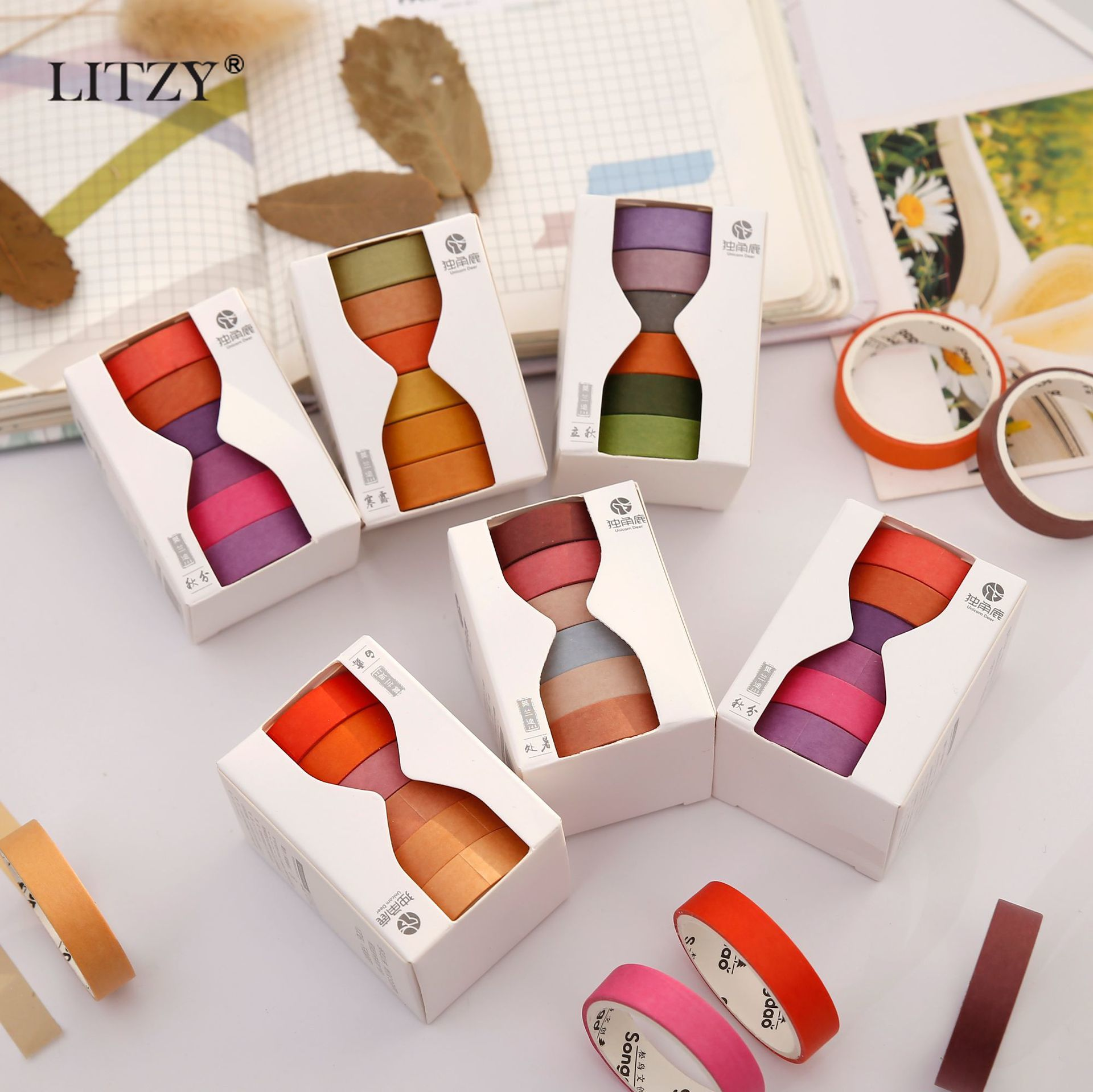 6 Pcs/lot Solar Terms Pure Color Journal Washi Tape Set DIY Scrapbooking Sticker Label Masking Tape School Office Supplies