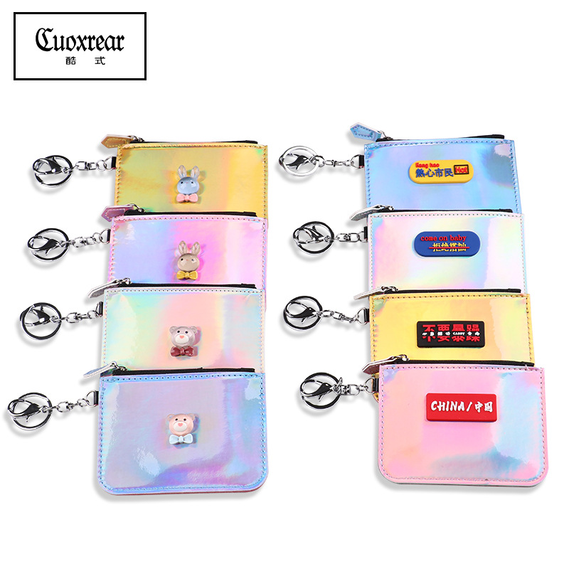 Creative New Style Laser Colorful Change Wallet Wallet Fashion Multi-functional Work Permit Card Holder