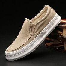 Monstceler marka erkek kanvas sneaker rahat ayakkabılar bahar sonbahar katı Slip on kalın alt düz erkek lüks vulkanize ayakkabı