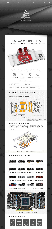 Barrow 3090 3080 GPU Water Block for GALAX/GAINWARD 3090 Aurora, Full Cover ARGB GPU Cooler, BS-GAM3090-PA