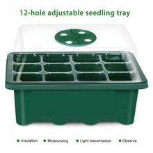 12 buracos plântulas bandejas semente starter planta flor crescer caixa de propagação para jardinagem crescer caixa de germinação partida