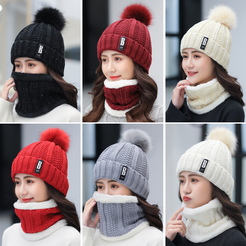 Hat Female Winter Wild Plus Velvet Warm Autumn And Winter Ladies Sweet Cute Knitted Wool Hat
