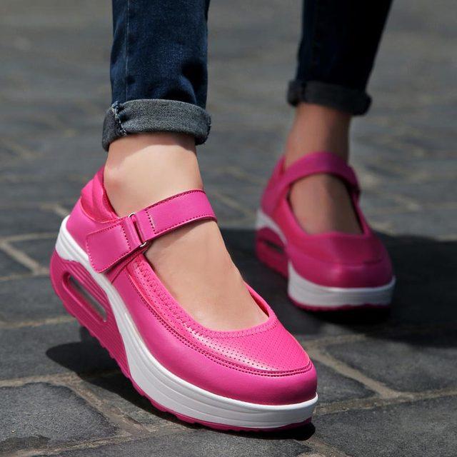 פלטפורמת נשים של נעלי ספורט נשים ריצת נעלי ספורט אישה ספורט נעלי אישה 2019 עור מפוצל ורוד סל אתלטי ריצה A 390