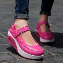 Chaussures de Sport à plateforme pour femmes, chaussures de course pour Jogging, en cuir PU rose, 2019