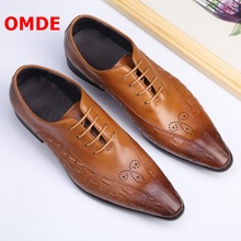 OMDE Pointed Toe Leather Shoes Men Carving Lace-up Business Dress Shoes British Style Oxford Shoes For Men Brogue Wedding Shoes цены онлайн