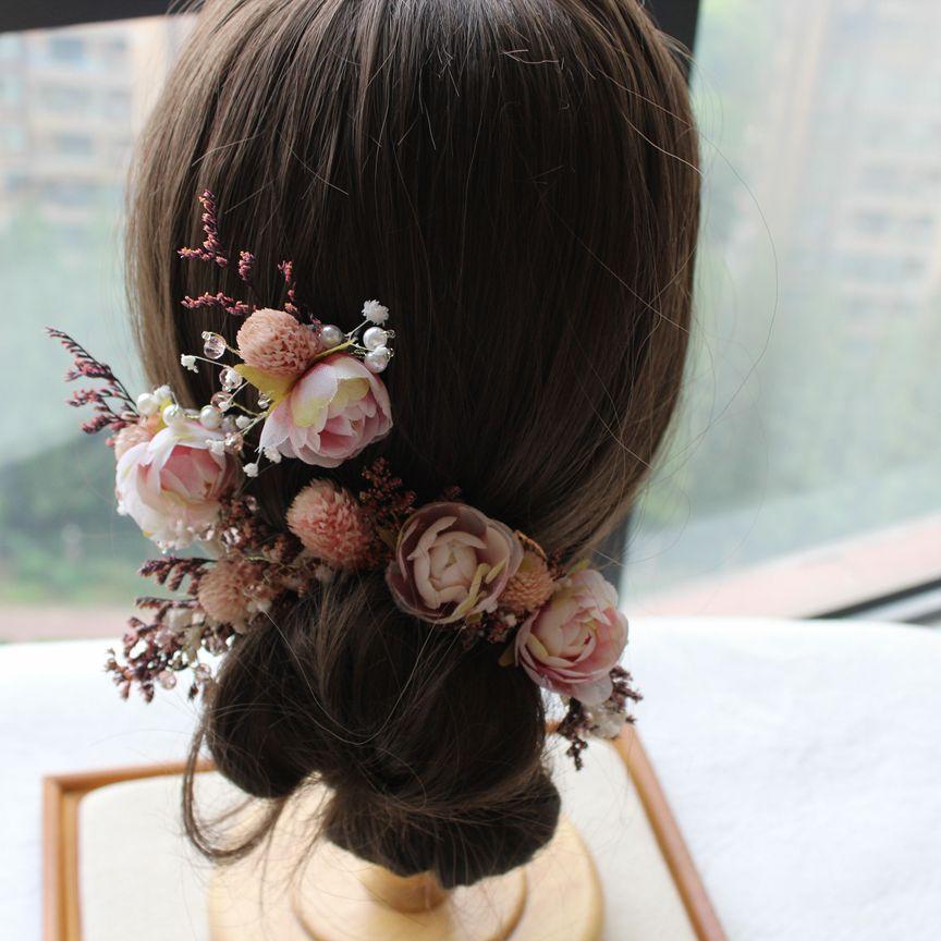 Bride Mori Headdress Dry Lace princess flower Hair Pinch Set Korean bridal Wedding hair Jewelry 4