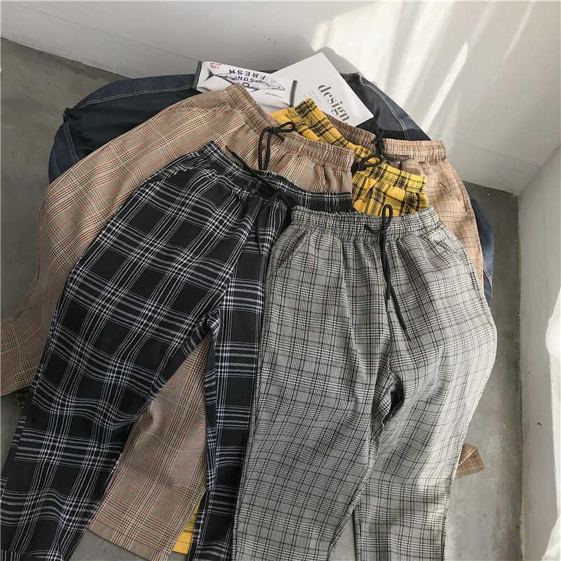 Serbaguna Mudah Harajuku Kotak-kotak Celana untuk Wanita Celana 2020 Streetwear Wanita Harem Celana Musim Gugur Wanita Kasual Celana Plus Ukuran