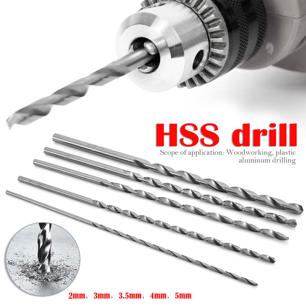5pcs Extra Long HSS Straight Shank Auger Twist Drill Bit Set 2-5mm Diameter 150mm Length Metal Wood Plastic Drilling Bit