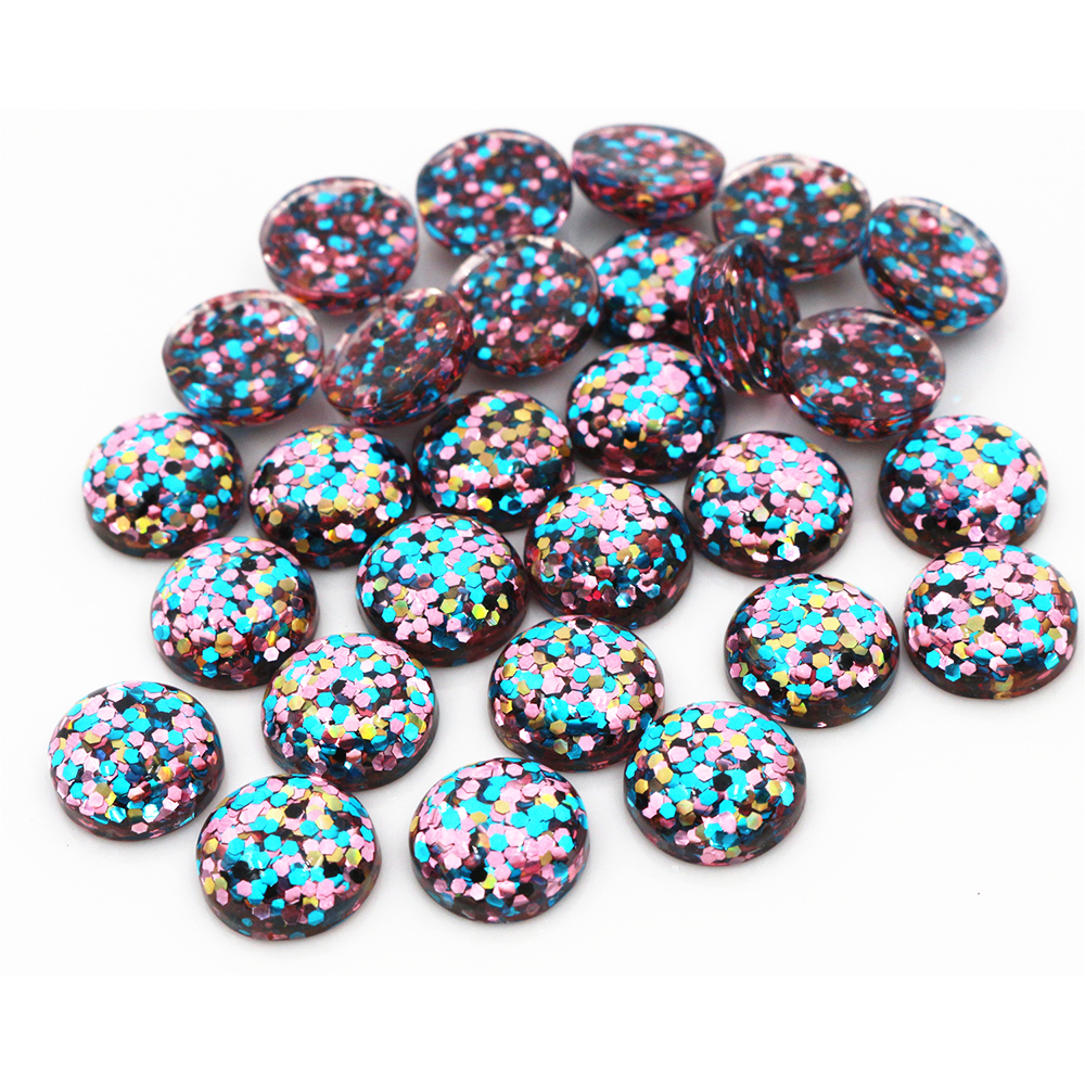 40pcs 12mm New Fashion Blue And Pink And Gold Color Mix Color Flat Back Resin Cabochons Cameo  G4-29