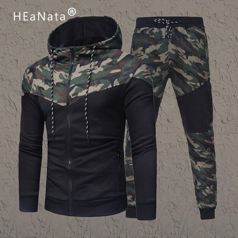 Camouflage Men Sets Causal Patchwork Hooded Track Suit Men 2Pcs Tracksuit Sportswear Set Hoodies Sweatshirt Pants Jogger Suits