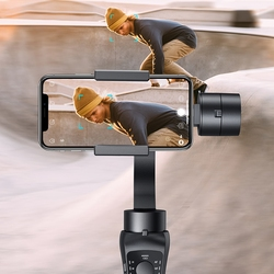 Handheld Gimbal 3-Axis Stabilizer with Motion/Time Lapse, Face/Object Track for IPhone X/X Max/6/7/7S,Samsung S6/S7/S8, Huawei P