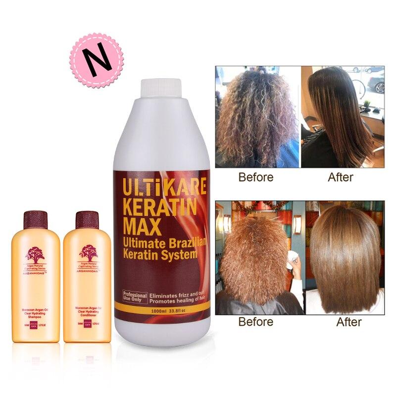Профессиональный Ultikare 1000 мл Бразильский кератин для лечения волос и кожи головы + мини-шампунь и кондиционер для волос с аргановым маслом