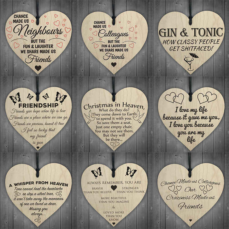 10 x CHRISTMAS HOME SHAPE /& hearts PLAIN WOODEN TAG EMBELLISHMENTS HANGING CRAFT