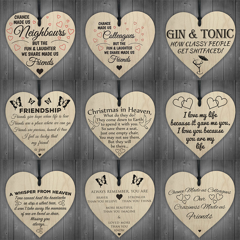 Creative DIY Wood Crafts Wooden Heart Shapes Hanging Tags Embellishment Christmas Wedding Party Home Decoration Supplies 62527-1