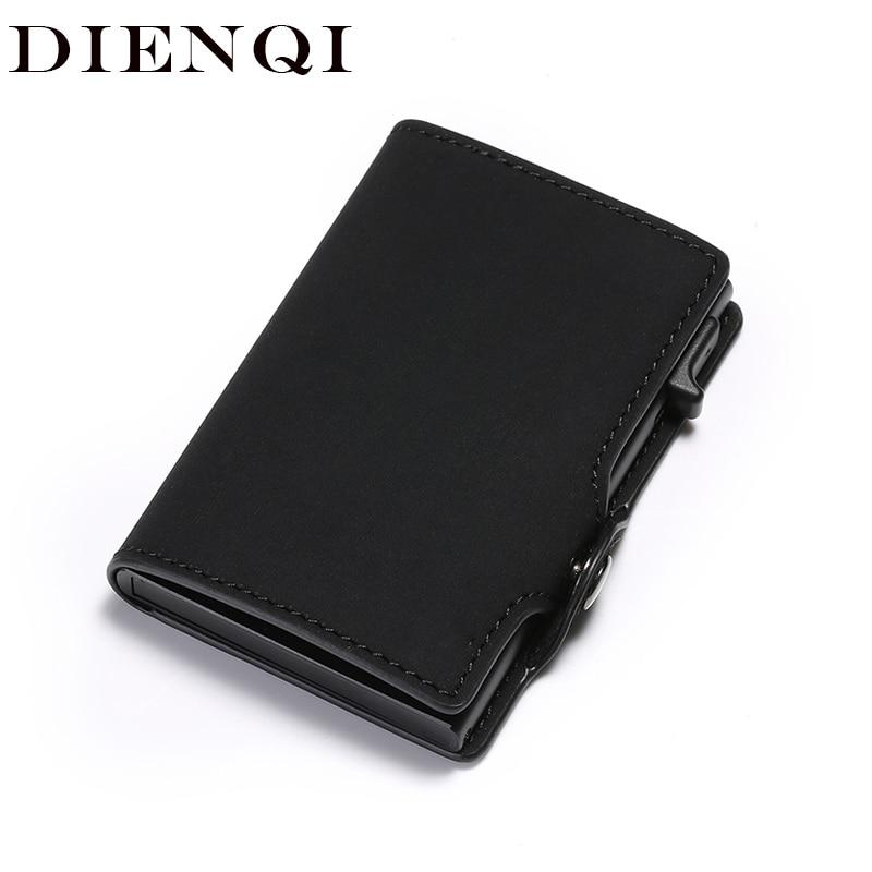 DIENQI Rfid Mini Leather Men Wallets Vintage Slim Male Magic Metal Wallets Small Purse Card Holder Bifold Vallet Money Bag Walet