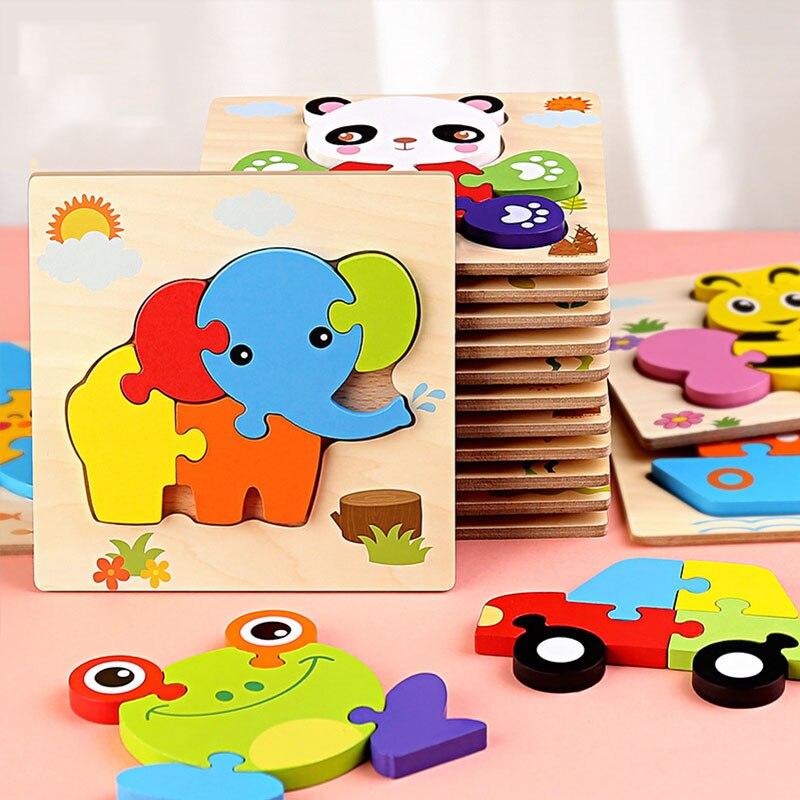Дети животных головоломка Монтессори 3D двухсторонняя, с узором в полоску деревянные головоломки игрушки рассказать историю Развивающие деревянные головоломки для детей 6