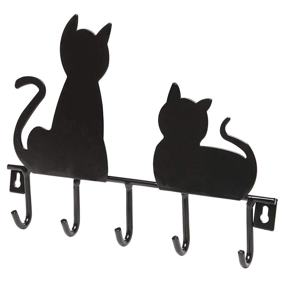 Fashion Towel Wall Hook Storage Racks Decoration Kitchen Cat Shape Clothes Hat Key Holder Iron Bathroom Hanger Back Door