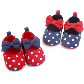 Baby Girl Shoes Toddler Infant Anti-slip Polka Dot Bow First Walkers Kids Footwear Girls0-18M