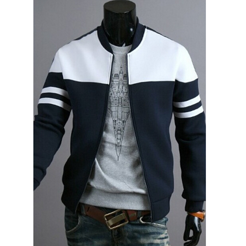 Man Sport Jacket Sportwear Men Bomber Jackets Coat Striped Patchwork Slim Fit Jacket Plus Size M-4XL Running Jackets For Male
