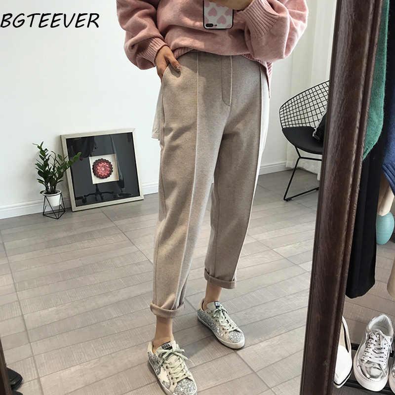 BGTEEVER kış kalınlaşmak kadın kalem pantolon artı boyutu yün pantolon kadın sonbahar yüksek bel gevşek pantolon kapriler iyi kumaş