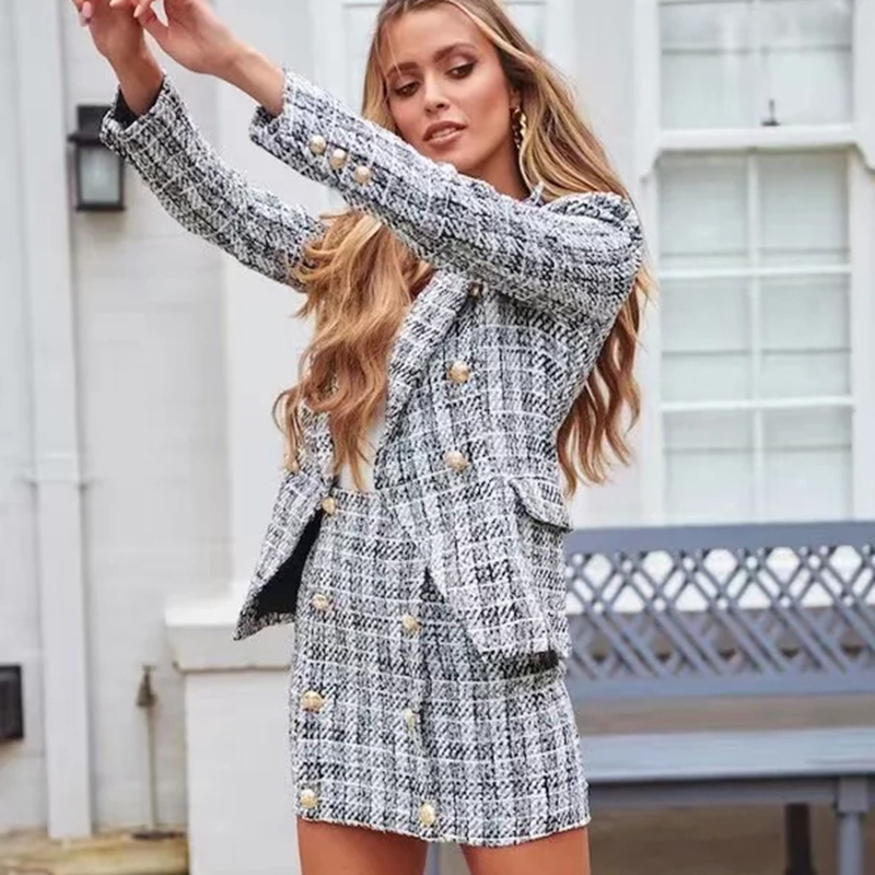 Blazer Women casual fashion long sleeve double breasted  2019 za Blazer coat + skirt suit feminino vintage blazers and jackets