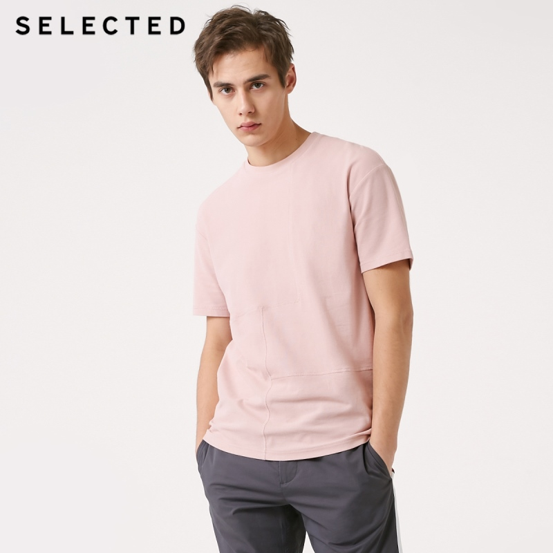 SELECTED Men's 100% Cotton Pure Color Spliced Short-sleeved T-shirt S|419101501