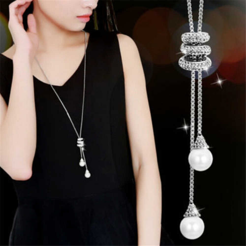 High Quality Fashion Metal Silver Long Tassel Rhinestone Crystal Pearl Long Chain Necklace Sweater Patry Necklace Jewelry