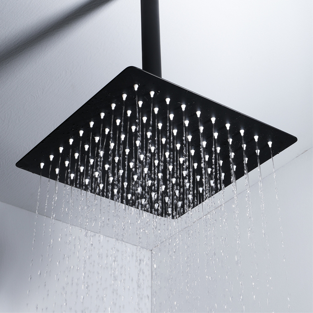 Hideep Shower Faucet Nozzle Black 10-Inch Stainless Steel Ultra-Thin Square Top Spray HIHSPJ156