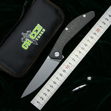 Складной титановый нож SIGMA m390 с ручкой CF GREEN THORN, карманный кухонный нож для кемпинга, охоты, фруктов, EDC инструменты