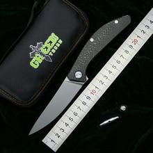 สีเขียว THORN SIGMA m390 ใบมีดไทเทเนียม CF Handle outdoor camping ล่าสัตว์กระเป๋าผลไม้ที่เป็นประโยชน์พับมีด EDC เครื่องมือ