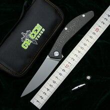 الأخضر شوكة سيغما m390 شفرة التيتانيوم CF مقبض في الهواء الطلق التخييم الصيد جيب المطبخ الفاكهة العملي سكين للفرد EDC أدوات