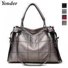 Yonder brand genuine leather handbags womens shoulder bags female messenger bag large capacity ladies casual tote bag black/red