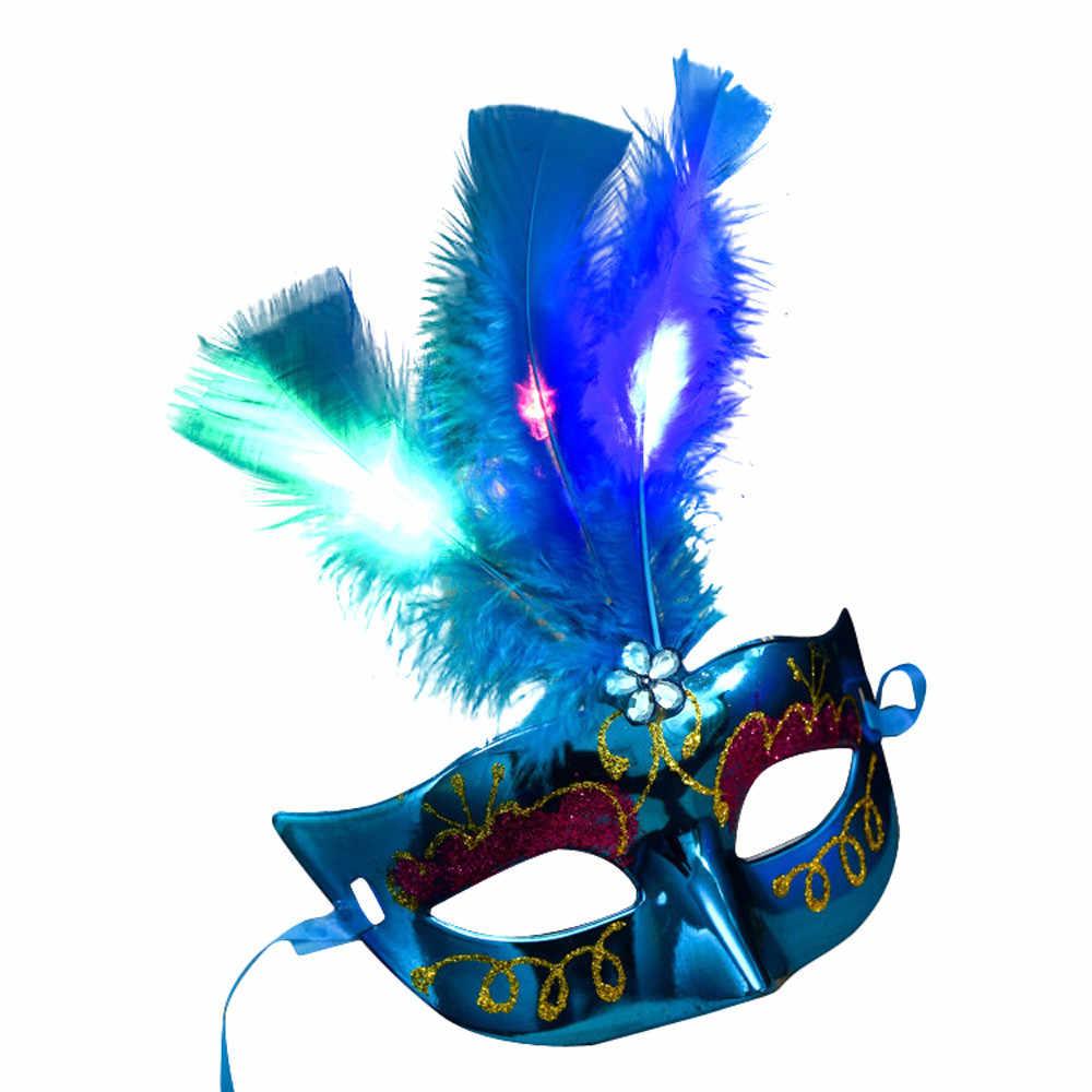2020 Nuove Donne Veneziana Led Maschera di Travestimento Fantasia Vestito da Partito Della Principessa Della Piuma Maschere