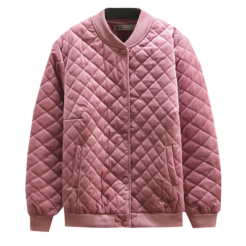 Women Autumn Winter Coat Lady Velour Quilted Coats Female Thin And Light Jacket Plus Size Fashion Loose C1-8085