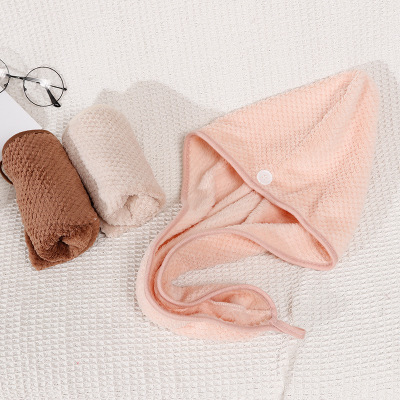 Coral Velvet Dry Hair Cap Fast Drying Towel Button Towel Turban Dry Bath Towel Double-sided Magic Microfiber Quick Cap