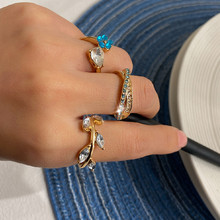 Bohemian Rhinestone Leaf Ring Sets for Women 2020 Vintage Cross Shape Blue Stone Finger Midi Knuckle Rings Jewelry chic blue bead and leaf shape embellished retro ring for women