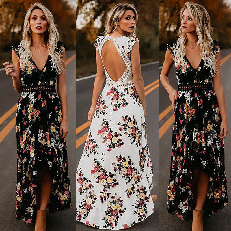 2019 Womens Summer BOHO Holiday Beach Dress Ladies Party Maxi Sleeveless Backless Vintage Split Black White Floral Printed Dress