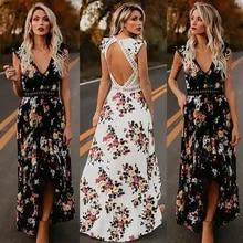 Floral-Printed Dress Maxi Backless Holiday BOHO Split Black White Vintage Ladies Party