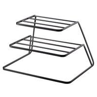 2 シングルティア食器棚ステンレス鋼キッチン食器水切りカップと皿オーガナイザーブラック