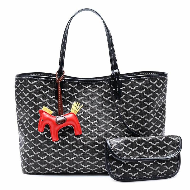 Women Handbag Large Capacity Fashion Shopping Bag With Cartoon Horse Pendant Female Shoulder Bags Lady Purses Tote Bag TBG400