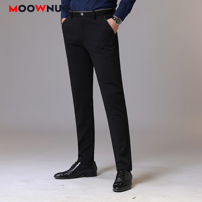 Autumn Long Pants Plus Size Streetwear Slim Men's Trousers Business Casual Elastic Hombre Male Fashion Straight 38 Brand MOOWNUC