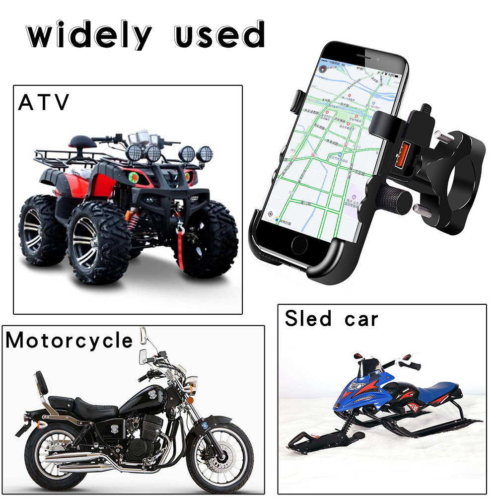 Multifunction Motorcycle Phone Holder 360° Rotation Waterproof QC3.0 USB Fast Safe Charge Phone Mount Power Adapter For ATV