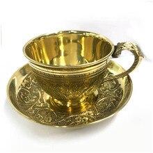 Произвольный узор индийские кофейные чашки блюдце наборы ручной работы гравировка латунная кофейная чашка медная чайная чашка с подушечкой кухонный гаджет Drinkwa