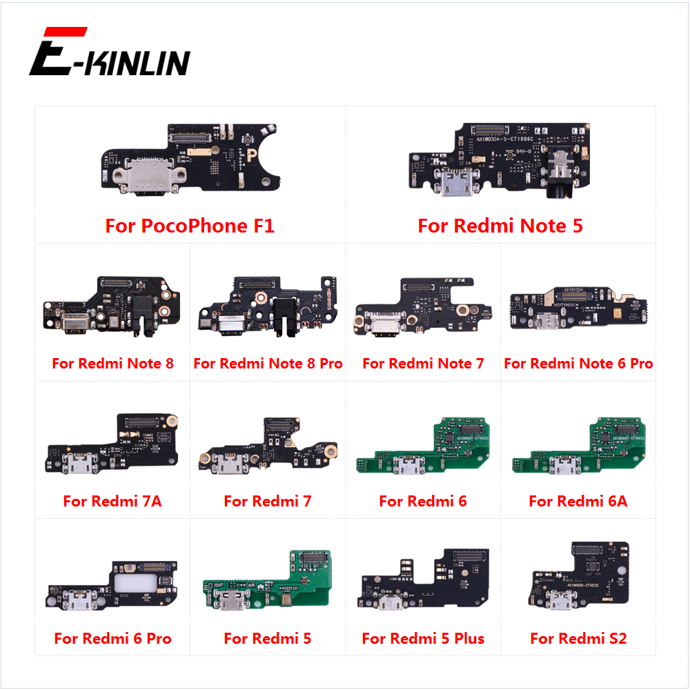 Charging Port Connector Board Parts Flex Cable With Microphone Mic For XiaoMi PocoPhone F1 Redmi Note 8 7 6 5 Pro Plus 7A 6A S2