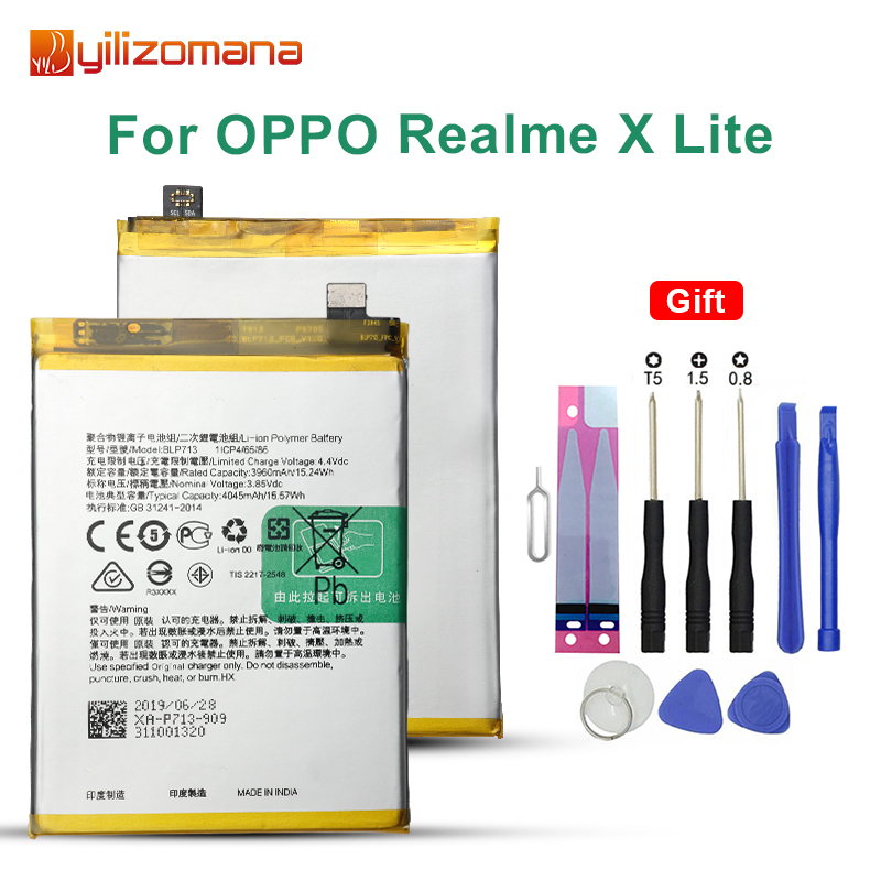 YILIZOMANA High Capacity Phone Battery BLP713 For OPPO Realme X Lite 4050mAh Replacement Batteries with Free Tools