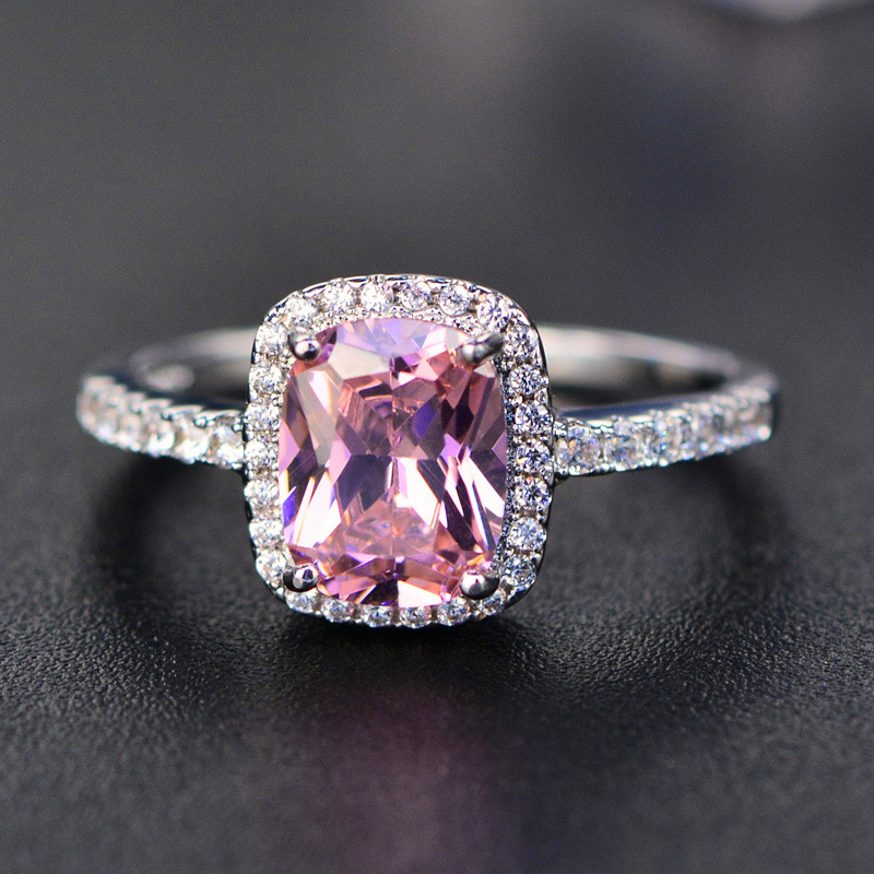 Fashion Mystic Fire Crystal Stone Rings For Women Silver Color Square Blue Pink Zircon Wedding Engagement Ring Boho Jewelry