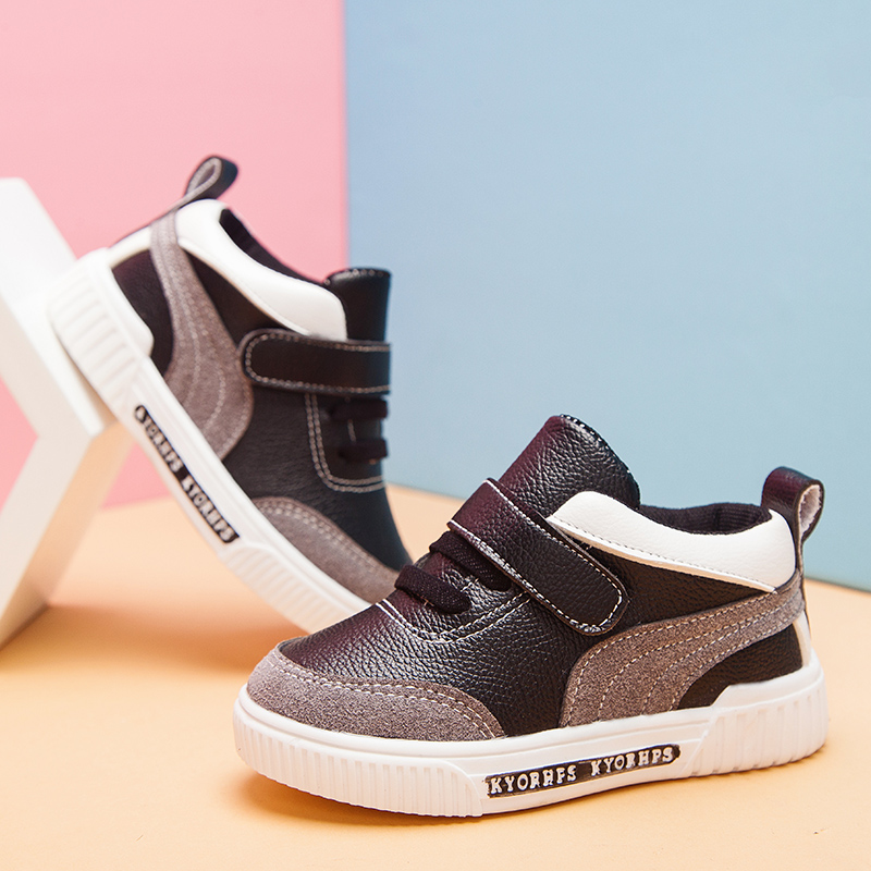 2020 New Fashion Baby Casual Shoes Kids Autumn Boy Sneakers Shoe Toddler Pu Leather Children Shoe Black White 1 2 3 4 5 6 Years