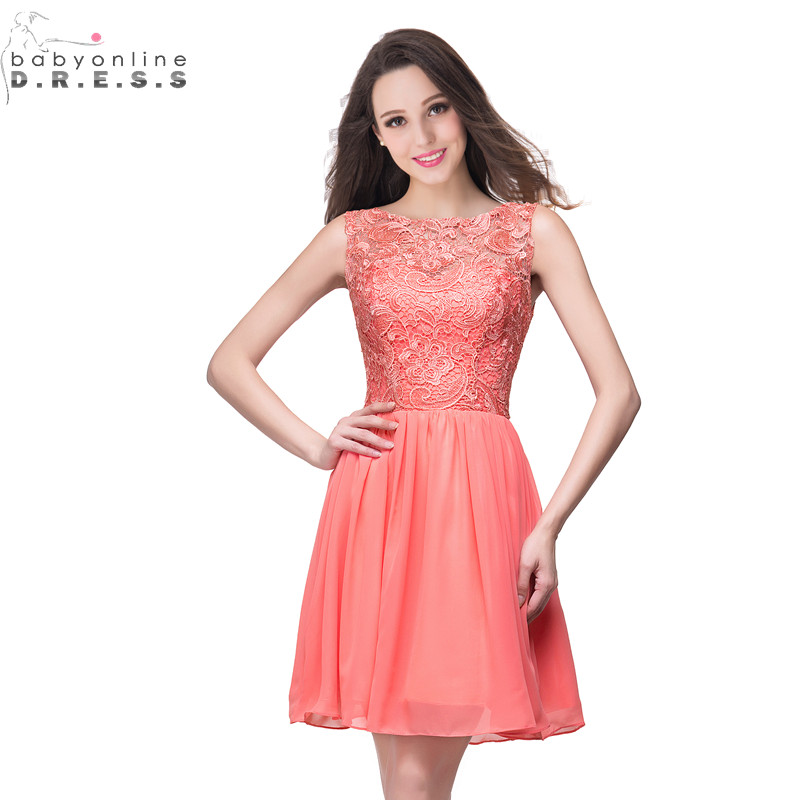 24 Hours Shipping Coral Lace Cocktail Dresses Sexy Hollow Out Short Chiffon Party Dresses Robe De Cocktail
