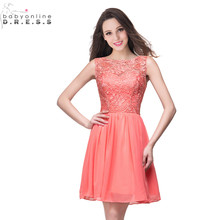 24 Hours Shipping Coral Lace Cocktail Dresses Sexy Hollow Out Short Chiffon Party Robe De
